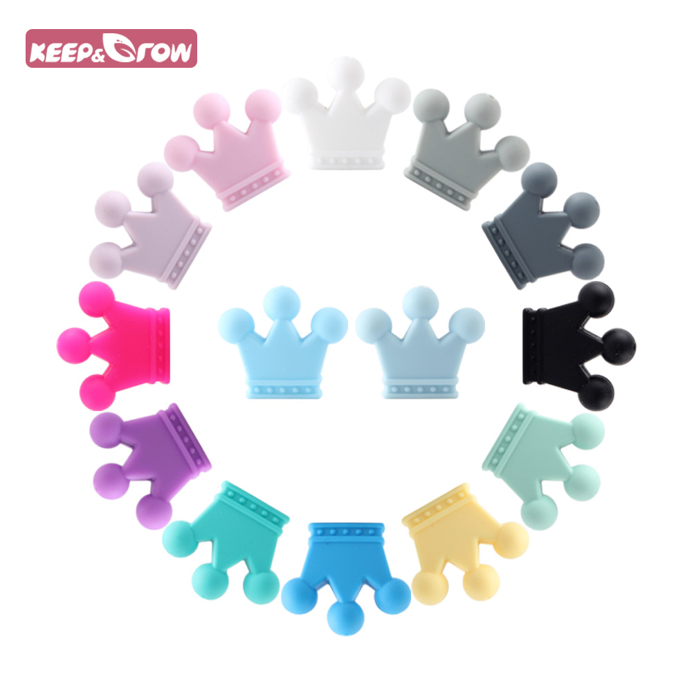 5pcs 35mm Food Grade Crown Silicone Beads Teether Rodents Baby Teething Toy DIY Teethers Necklace Nursing Accessories And Gift