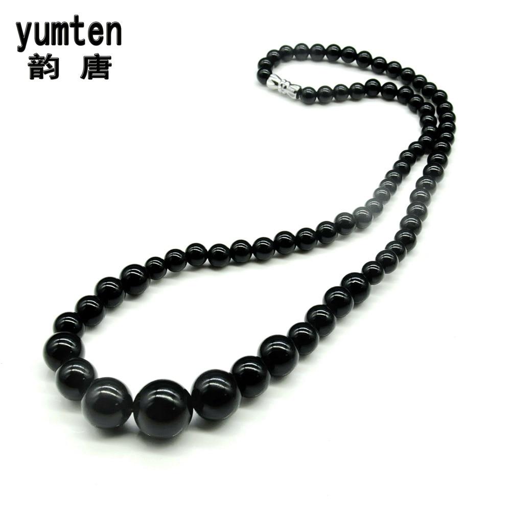 yumten Natūralaus krištolo juodojo agato bokšto grandinėlės apykaklė antkaklė ras du cou karoliai moterys juvelyriniai dirbiniai kostiumas Jade bauda šventinės dovanos