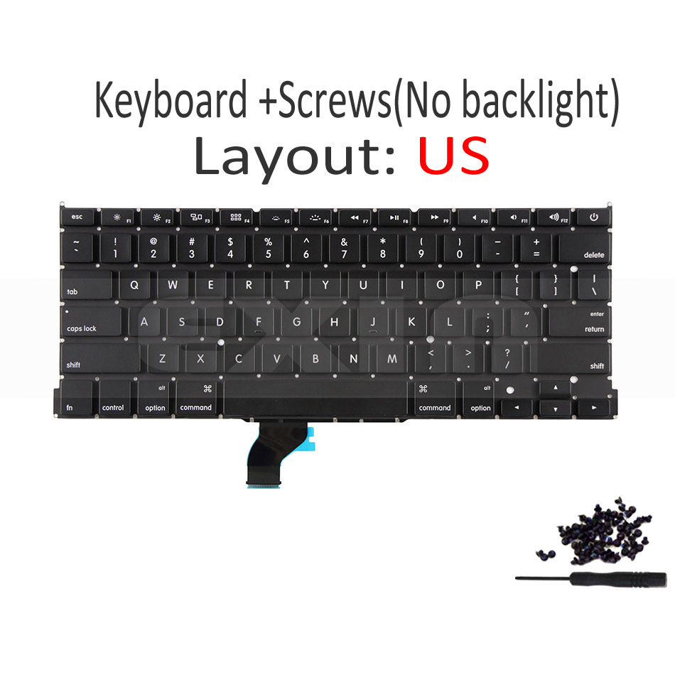 """Image 3 - New A1502 US English Keyboard +Backlight+100Pcs Screws for Macbook Pro Retina 13"""" A1502 2013 2014 2015 EMC2678 EMC2875 EMC2835-in Replacement Keyboards from Computer & Office on"""