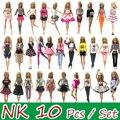 NK 10 unids/set vestir a la muñeca princesa fiesta vestido para muñeca Barbie accesorios de diseño de moda traje mejor regalo para chica muñeca juguete JJ
