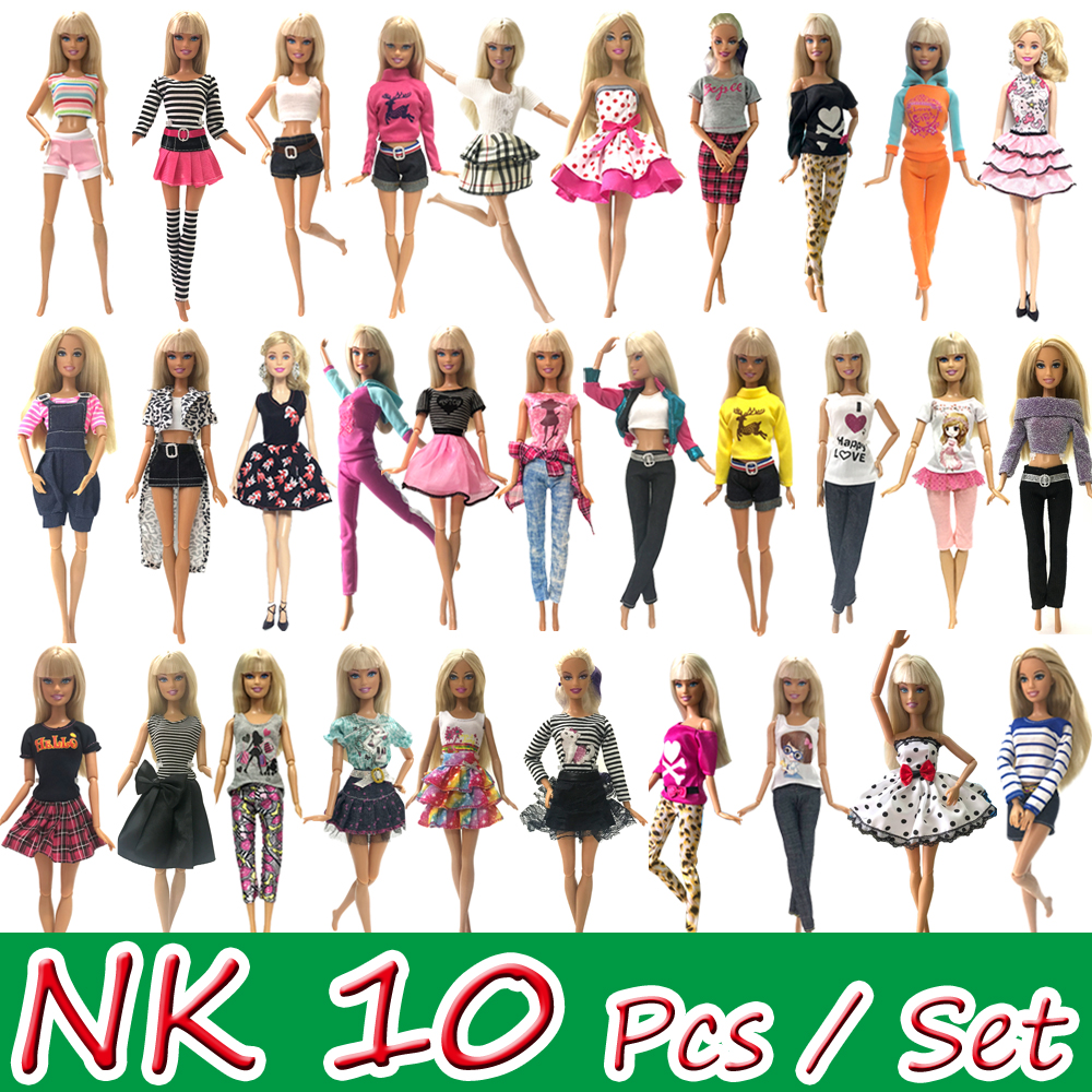 NK 10 Pcs/ Set Princess Doll Dress  Party Gown For Barbie Doll Accessories Fashion Design Outfit Best Gift For Girl' Doll Toy JJ