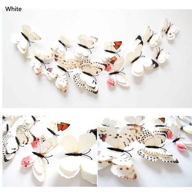 12 шт. 3д двойной слой бабочка стены стикеры на стене для домашний декор Сделай сам бабочки магнит на холодильник наклейки украшения комнаты