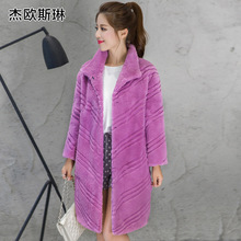 New arrival fashion long style whole skin natural rex fur coat outerwear women wave cut real fur jacket free shipping g5829