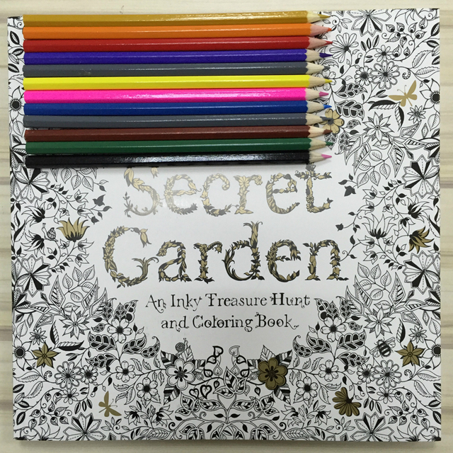 12 Color Pencils 96 Pages English Secret Garden Coloring Books For Adult Hand Drawn