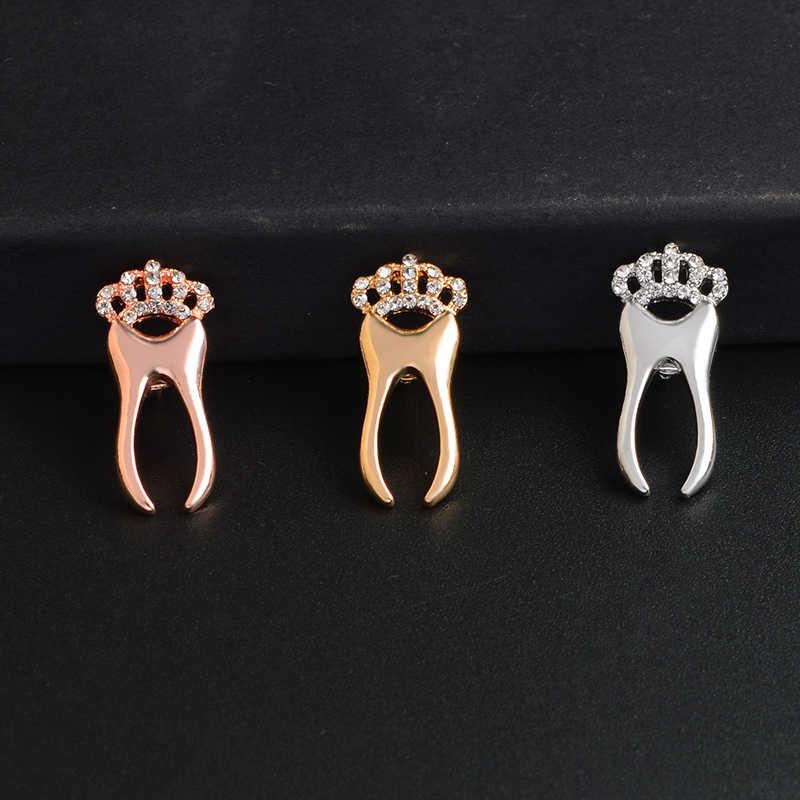 Gioielli In Oro rosa Argento Corona del Dente Spilla In Metallo Spille Medical Medico Infermiere Medicina Spilla Regalo di Laurea per Gli Studenti