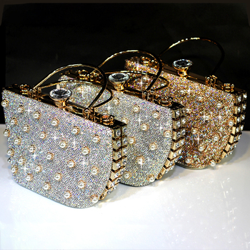 Crystal Handbag Totes Luxury Clutches Pearl Women Gold Wedding Shoulder Bags Genuine Leather Rhinestone Chain Evening Party Bags