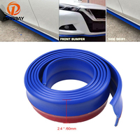 POSSBAY 2.5m/8.2ft Car Styling Auto Rubber Mouldings Blue Front Bumper Lip Soft Car Protector
