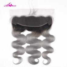 Али Коко, бразильские волнистые кружевные фронтальные волосы 1B/серый цвет 13*4, кружевные фронтальные волосы Remy, 8 20 дюймов