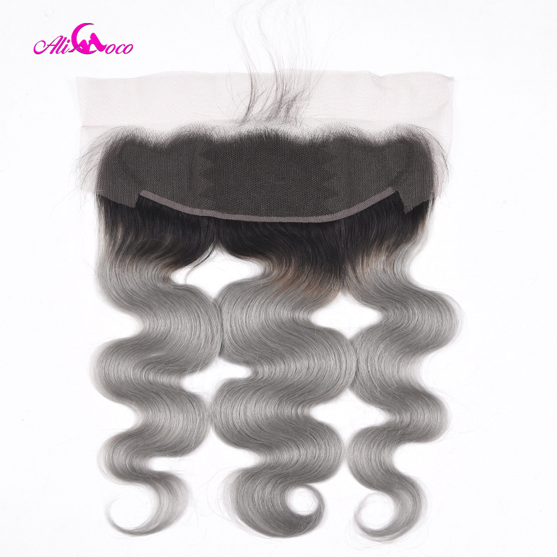 Ali Coco Brazilian Body Wave Lace Frontal 1B/Grey Color 13*4 Ear To Ear Lace Frontal Closure Remy Human Hair Frontal 8-20 Inch