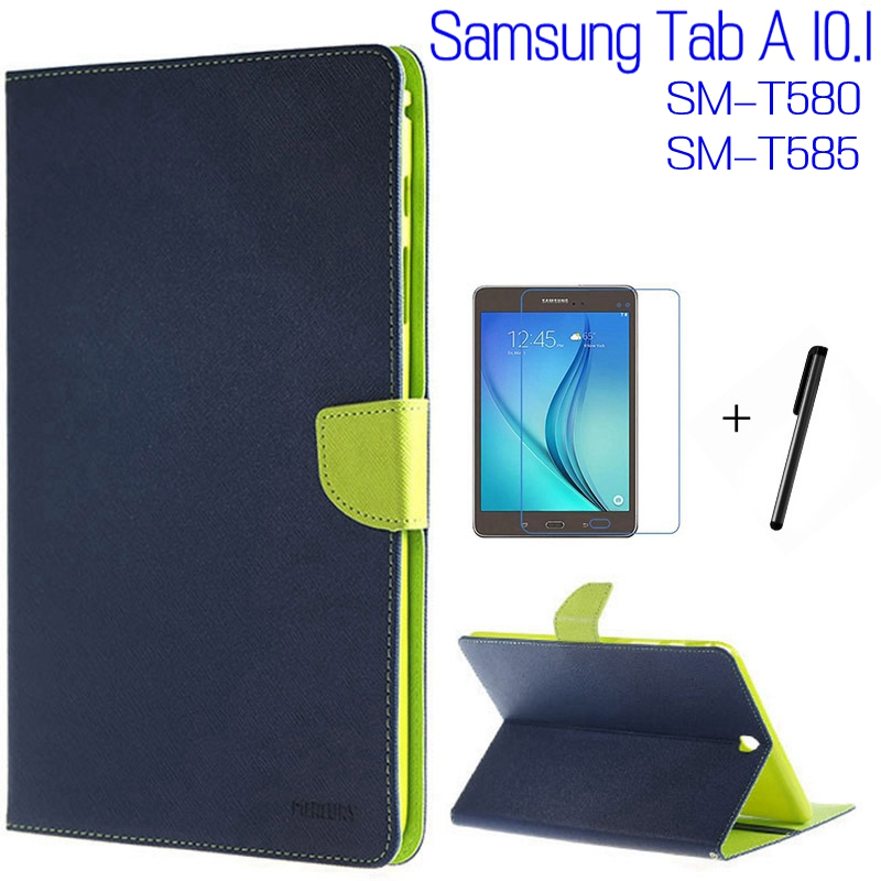 Fashion Stand Smart Cover PU Leather Case For Samsung Galaxy Tab A T580 T585 T580N 10.1 Tablet Cases+Free Screen Protector+Pen