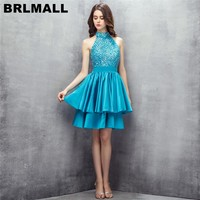 BRLMALL Stunning High Neck Short Blue Homecoming Dress 2017 Sleeveless Beaded Crystal Graduation Prom Dress Party Gowns