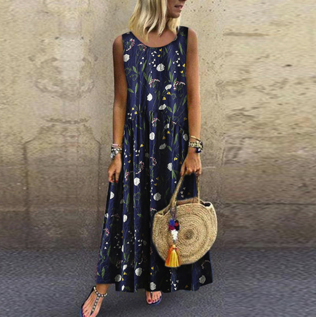 Women Summer Dress Plus Size Bohemian O-Neck Floral Print Vintage Sleeveless Long Maxi Dress Casual Loose Beach Dresses Vestidos