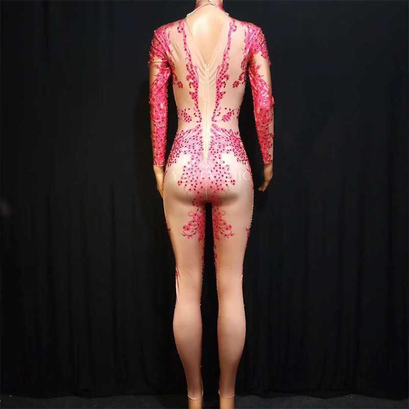 2019 Розовый Красный Блестящий Комбинезон модный спандекс стрейч Блестящий танцевальный костюм Цельный боди наряд для ночного клуба вечерние леггинсы