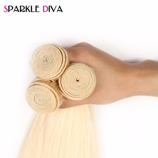 Sparkle Diva 613 Blond Hair Brazilian Hair Weave Bundles Straight Non Remy 100% Human Hair Bundles 10-24inch Free Shipping