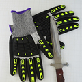 Anti-cut working gloves, knitted gloves with leather palm, reinfored cut resistant gloves.