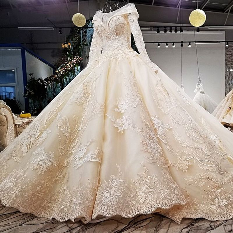 Vivian's Bridal 2019 Autumn Winter Pearls And Floral Print Wedding Gown Long Sleeve Lace-up 1m Train Champagne Bridal Dress