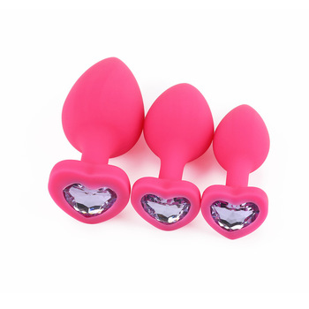 Pink silicone anal plug boxed in 3 sizes