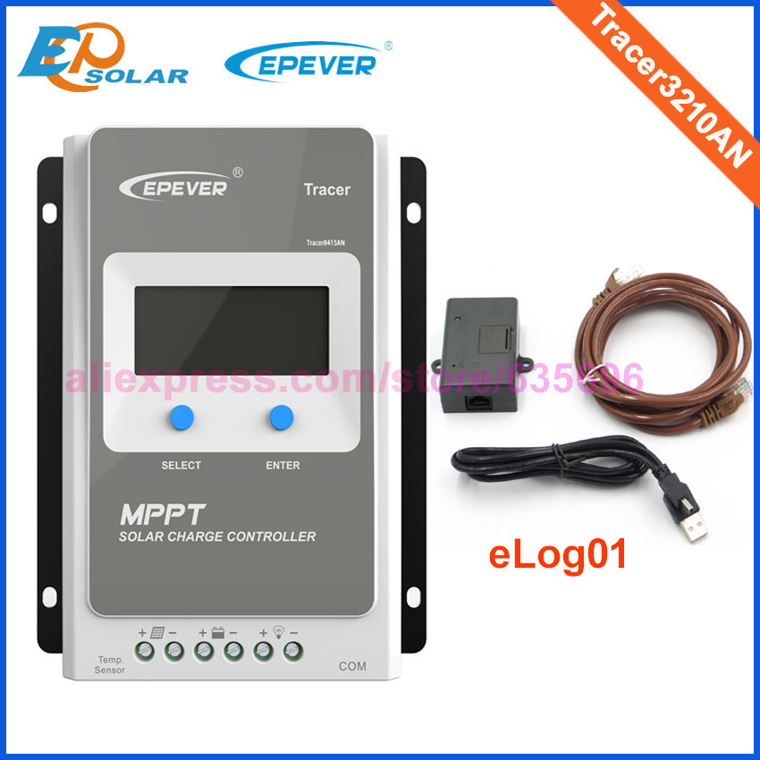 Tracer3210AN controller for solar panels EPEVER Free Shipping 30A MPPT solar tracking elog01 logger LCD display Screen 12V/24V