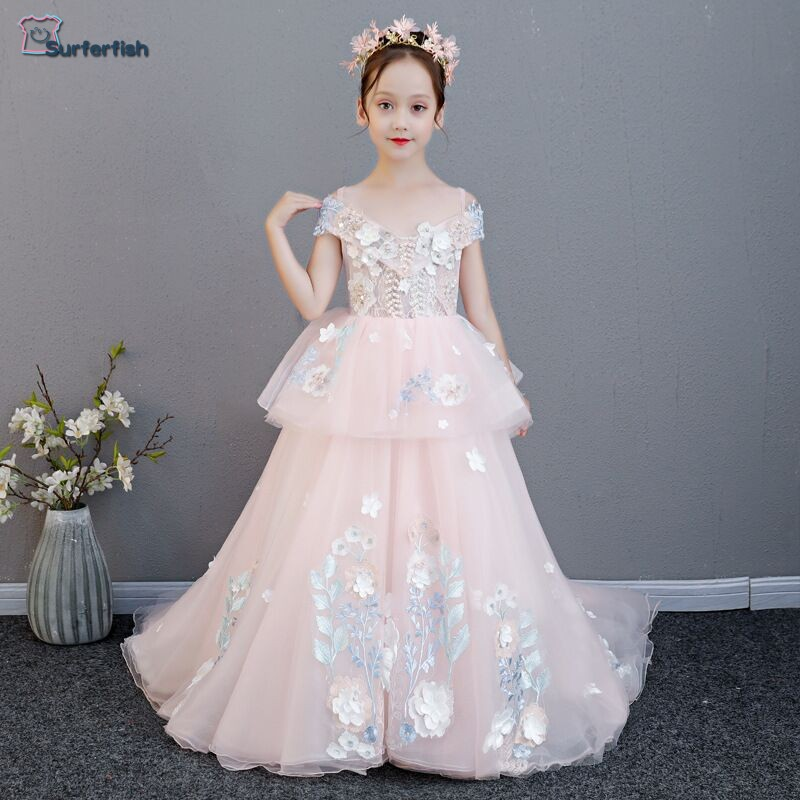 Surferfish Childrens princess dress girls wedding dress girl Luxury evening dress Flowers Long Princess Valentines Day Dress.Surferfish Childrens princess dress girls wedding dress girl Luxury evening dress Flowers Long Princess Valentines Day Dress.