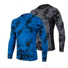 Men Gym Fitness Sport Long Sleeve T Shirt Men Running Basketball Soccer Training Crossfit Breathable Compression Shirt Tights