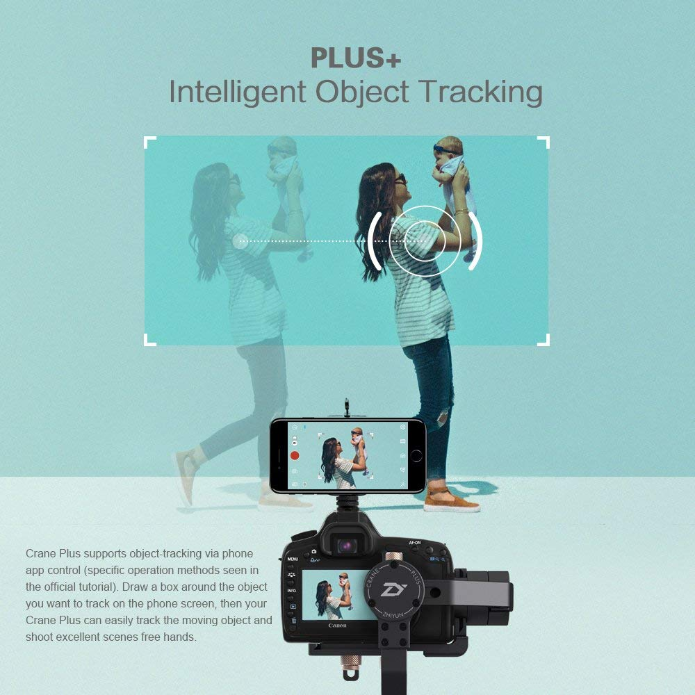 Zhiyun Crane Plus 3 Axis Handheld Gimbal for Sony Canon DSLR Mirrorless Camera 5.5lb Payload Timelapse Object Track FPV POV 21Mode2