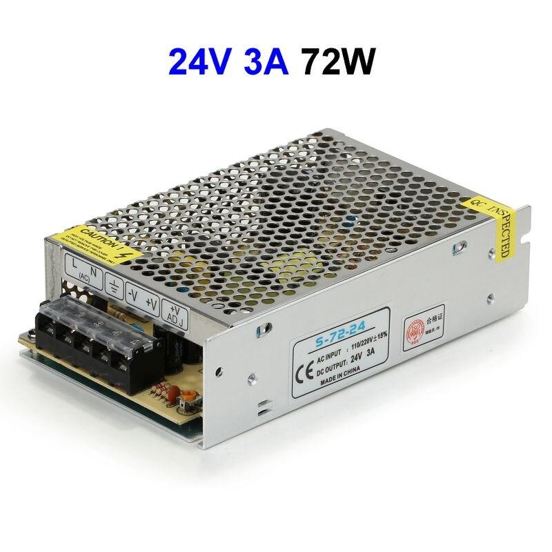 DC24V 3A 72W Switching Power Supply Adapter Driver Transformer For 5050 5730 5630 3528 LED Rigid Strip Light ac 85v 265v to 20 38v 600ma power supply driver adapter for led light lamp