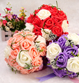 2017 Cheap New Wedding Bouquet Bridal Bridesmaid Red/Purple/Pink/Ivory Artificial Flower Rose Bride Bouquets buque de noiva