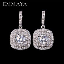 EMMAYA AAA Cz Classic Square Drop Crystal Earrings with Tiny CZ Luxury Bridal Wedding for Women