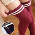 Колготки чулки девочек 2016 опрятный стиль дикий поворот полосатые чулки над коленом носки осень/зима долго хлопка чулки