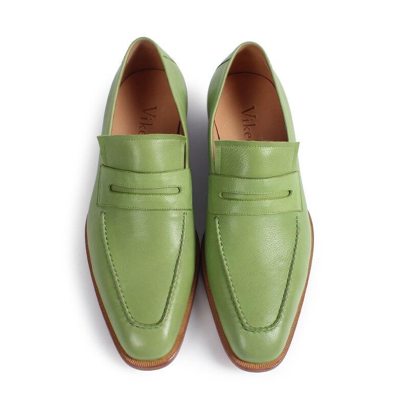 Hombre Véritable De Zapatos En Green Plaine Cuir on yellow Veau Slip Main Mocassins Vikeduo Chaussures Semelle Hommes Vert Patine 0aqffp