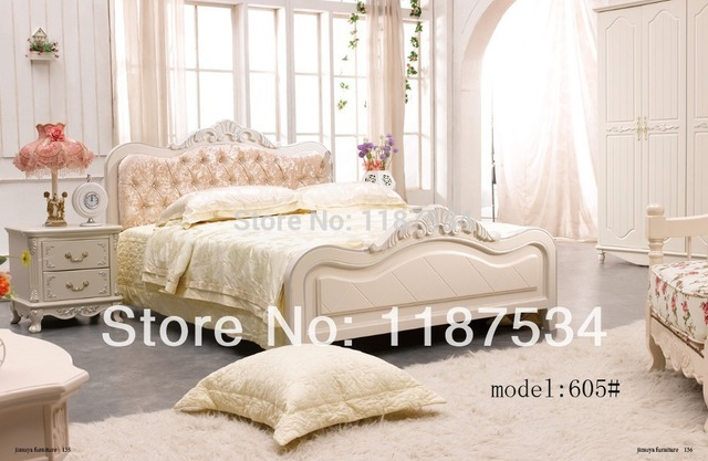 605 Modern Home Furniture Bedroom Set Bed Wardrobe Nightstand Scream White