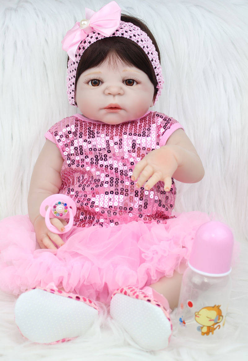 55cm Full Body Silicone Reborn Baby Doll Toy Like Real Newborn Princess Girls Babies Doll Fashion Kids Birthday Gift Bathe Toy full silicone body reborn baby doll toys lifelike 55cm newborn boy babies dolls for kids fashion birthday present bathe toy
