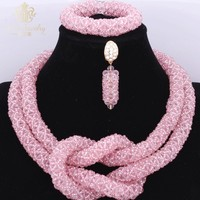 Cute Pink African Women's beads Vintage Bridal Wedding Jewelry Set For Girls Summer Bride Party Costume Necklace Set 2017