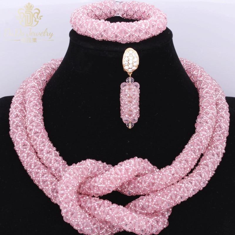 Jolies perles de femmes africaines roses ensemble de bijoux de mariage de mariée Vintage pour les filles ensemble de collier de Costume de fête de mariée d'été 2017