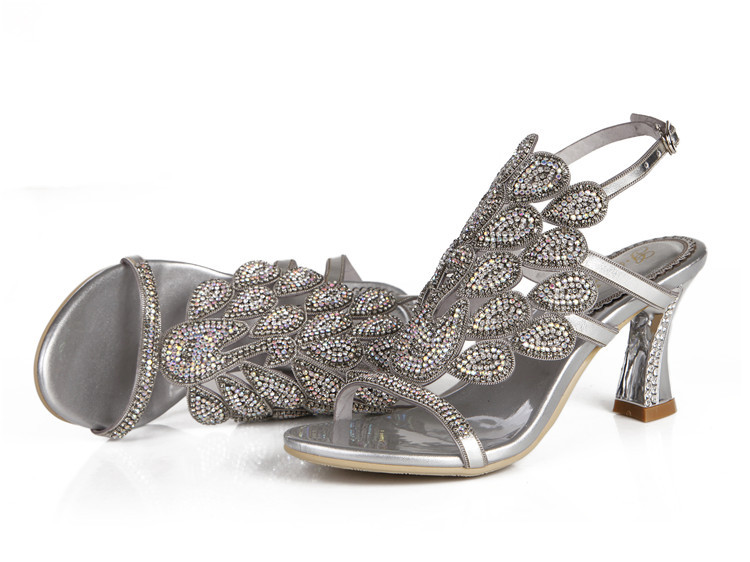 G-sparrow 2018 Summer Korean Rhinestone Slipper Silver Elegant Wedding Shoes Womens Crystal High Heel Sandals12