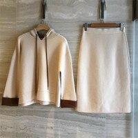 2 предмета Комплект Для женщин юбка Топ 2018 осень с длинным рукавом Толстовка с капюшоном и длинные линии юбки костюмы