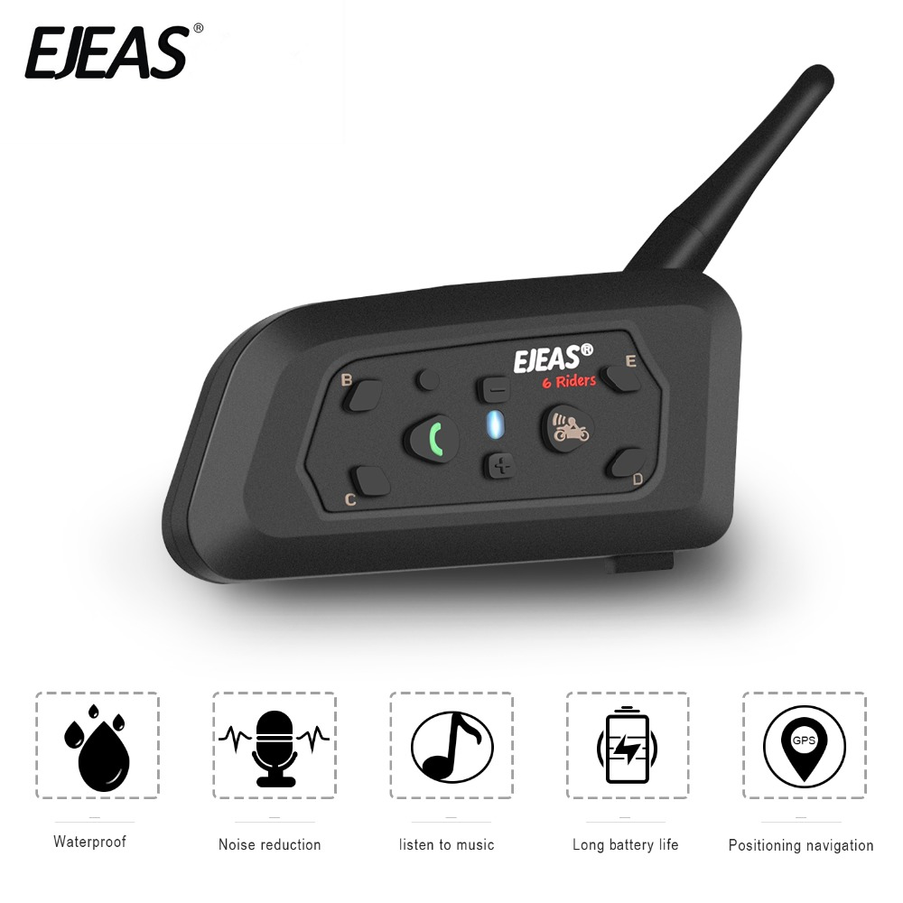 EJEAS V6 Bluetooth Helmet Intercom Moto Motorcycle Communicator  FM Headset Referee With Mic 1200m Interphone For 6 Riders BT S2 lexin 2pcs r6 1200m bt motorcycle wireless intercom helmet headsets for 6 riders intercomunicador bluetooth para motocicleta