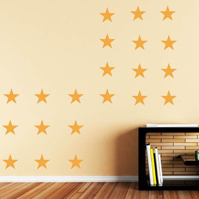 JJRUI Gold Stars Vinyl Wall Decal Stickers Golden Star Kids Baby ...