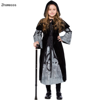 Cashmere Girls Noctilucent Skeleton Witch Costumes Cosplay With Hooded Opera Cape For Children Halloween Party Dress