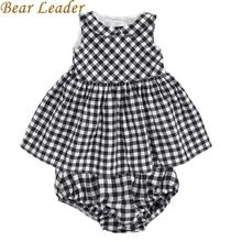 Bear Leader Новорожденных Девочек Dress 2016 Новый Случайный Плед Рукавов отложным Воротником Принцесса Dress + Плед шорты 2 шт. одежда Наборы(China (Mainland))