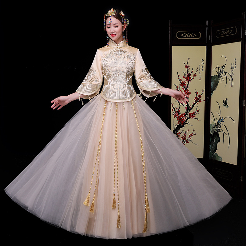 Wedding Gown Fashion Show: New 2019 Chinese Traditional Elegant Clothing Spring Bride