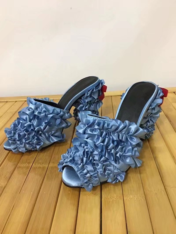 real picture 2017 summer party shoes blue ruffles women sandals high heels shoes butterfly-knot sandalia feminina sandal slides 2016 summer high heels16cm sexy waterproof 4cm party women s shoes plus size factory outlet real picture
