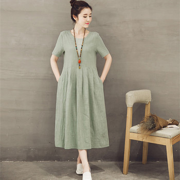 2017 Korean version maternity dresses short-sleeved retro cotton and linen pregnant women dress Plus size Long maternity dress girl