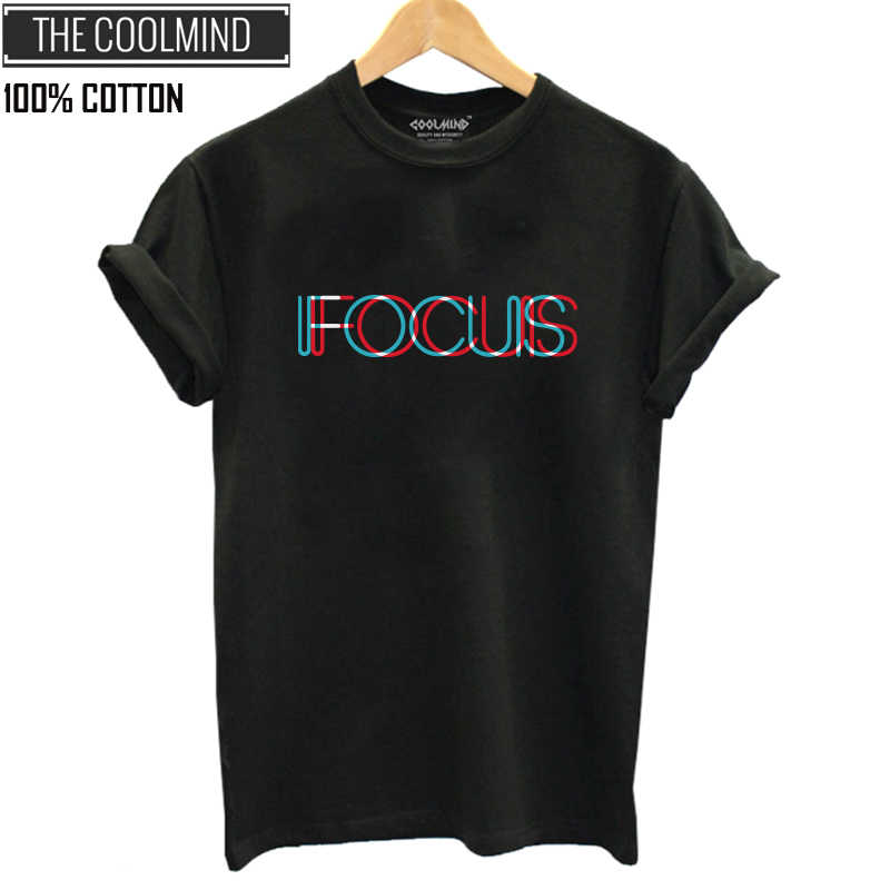 COOLMIND QI0231B 100% cotton short sleeve focus print women t-shirt casual o-neck loose women t shirt summer tshirt tee shirts