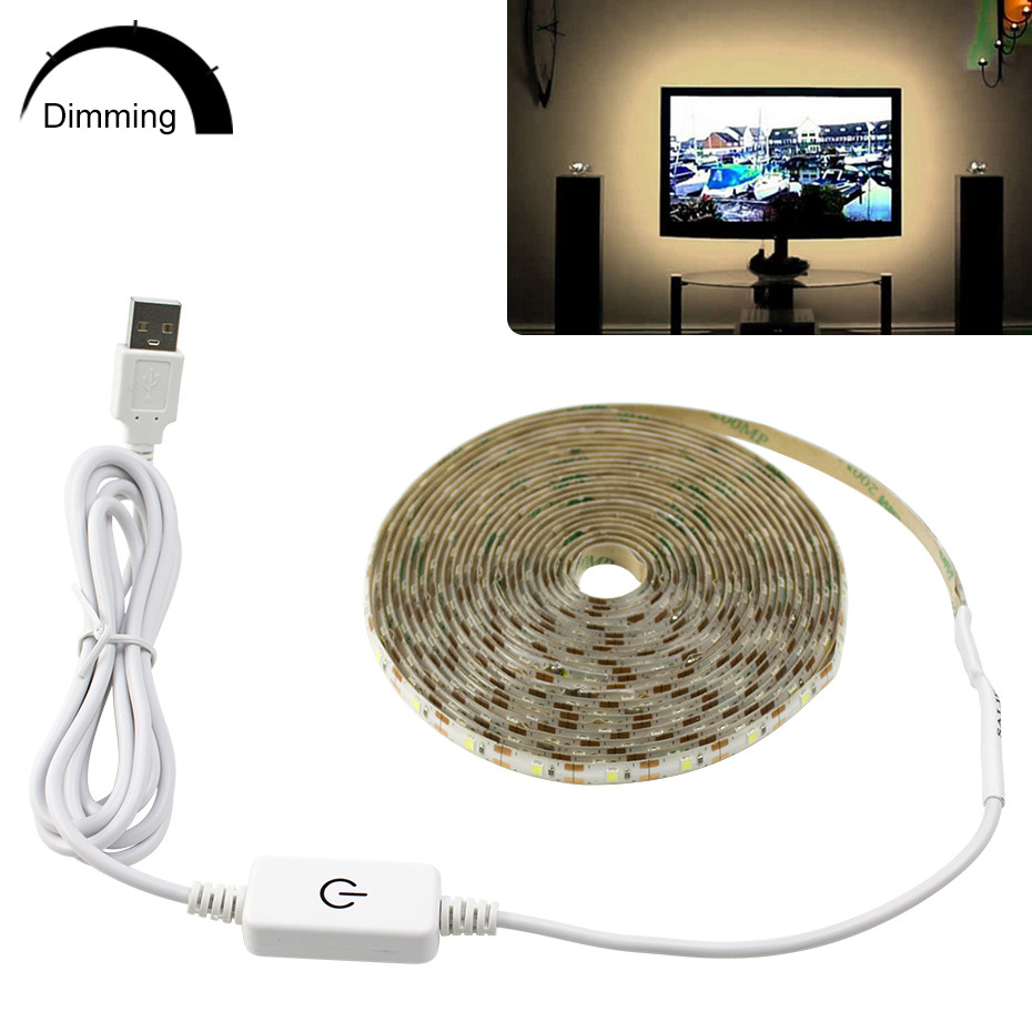Touch Dimmable Led Strip Waterproof 5V Tira Led USB Tape Light 1/3/5M Led Strip Lights For Kitchen TV Backlight Mirror Bathroom