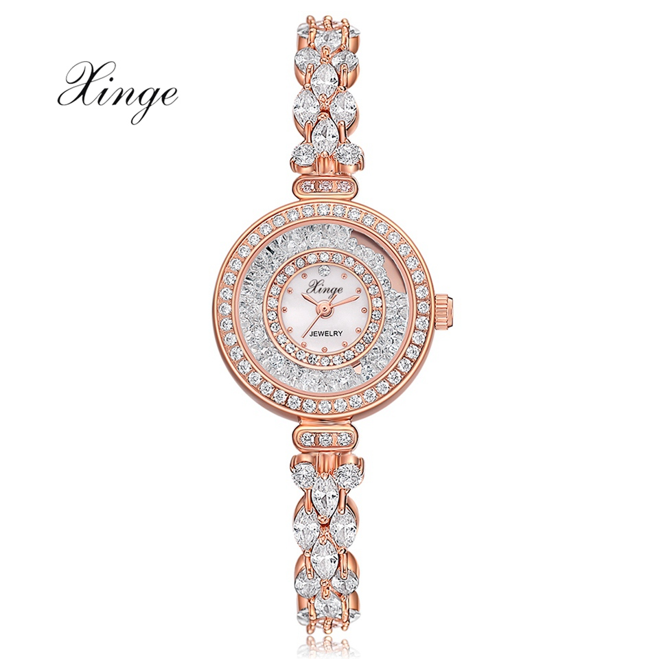 Xinge Brand Watches For Women Bracelet Clock Luxury Rose Gold Zircon Dress Quartz Watch Fashion Ladies Jewelry Wristwatch one crow alone