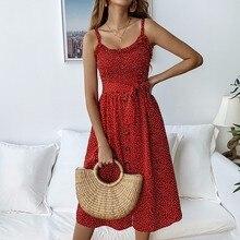купить DeRuiLaDy 2019 Women Summer Straps Dress Sexy Ruffle Dot Print Lace Up Button Pocket Beach Dresses Female Sundress Casual Dress по цене 1042.6 рублей