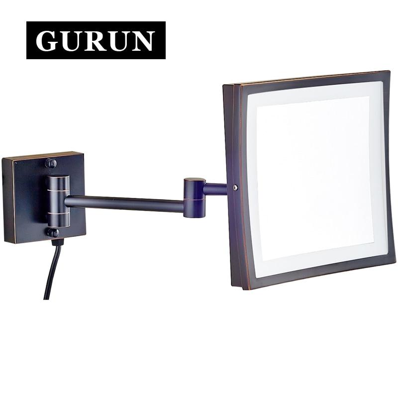 Gurun Led Makeup Mirror 8 Inch Cosmetic Mirror Wall Mounted 3x Magnifying Bathroom Makeup Mirror