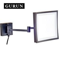 Gurun led化粧鏡-8インチ化粧鏡壁掛け3x拡大鏡浴室化粧鏡でライトled M1802DORB