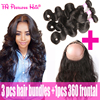 360 Lace Frontal With Bundle Body Wave Hair 360 Frontal Band 22.5X4X2 Pre Plucked Brazilian Lace Frontal Closure With 3 Bundles